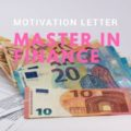 Motivation letter sample for a Master in Finance